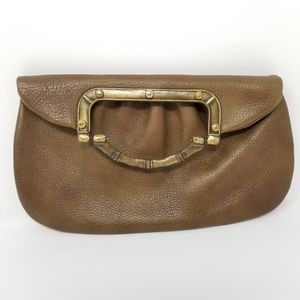 Vintage Leather Clutch Bag With Handle Brown